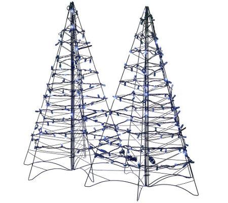 S 2 pre lit led 3 39 fold flat outdoor christmas trees by for Flat outdoor christmas decorations