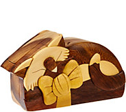 Handcrafted Hardwood Hidden Storage Puzzle Box with Burn Stamp - H207221