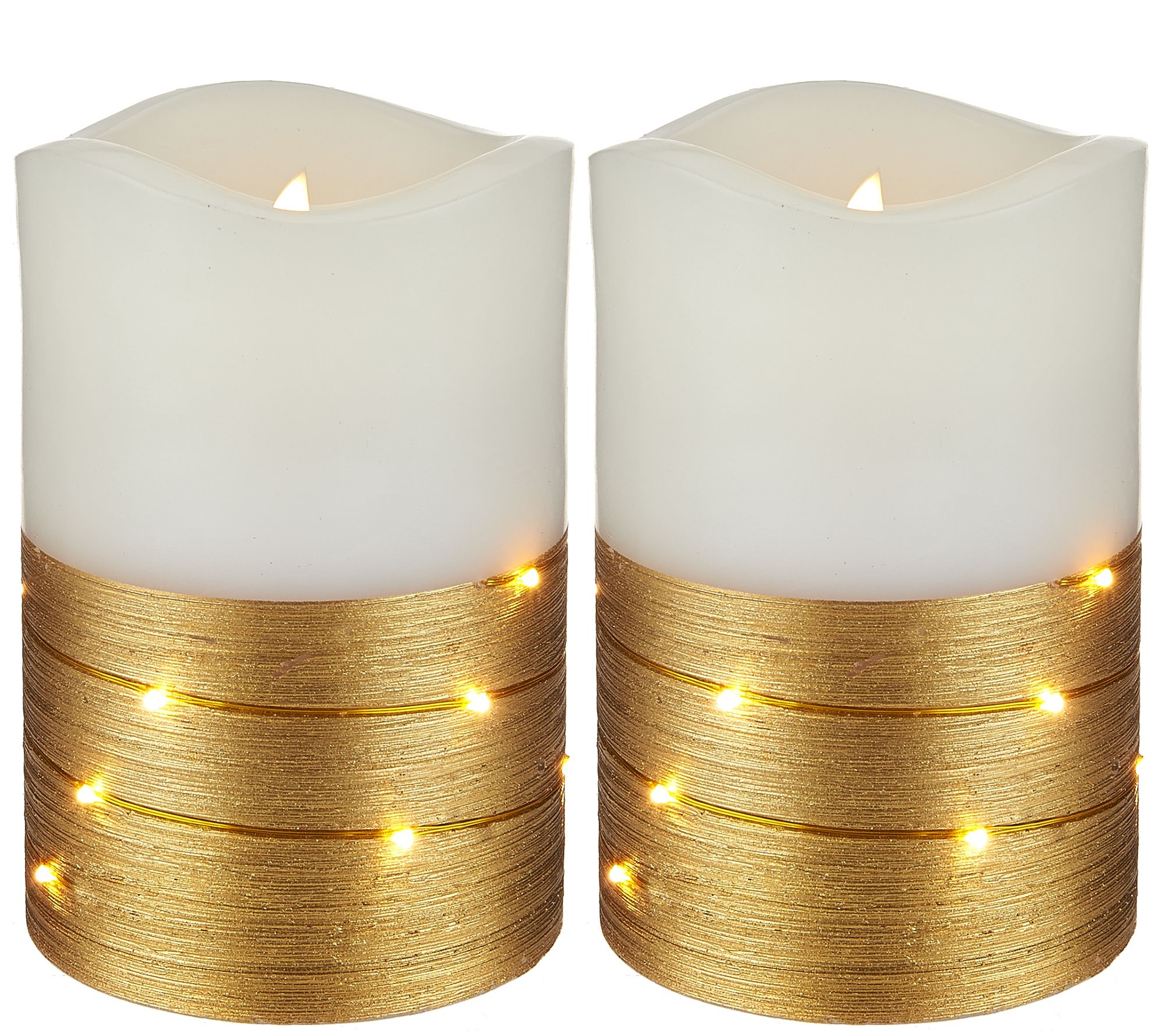 Lightscapes 2 5 metallic swirl light flameless candles for Shimmer pillar candle