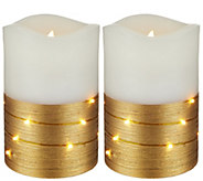 Lightscapes (2) 5 Metallic Swirl Light Flameless Candles - H208621
