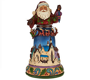 Jim Shore Heartwood Creek Santa with Spinning Reindeer Scene