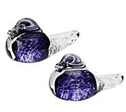 As Is Irish Handmade Glass Company Set of Two Love Birds - H209521