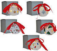 Lightscapes S/5 Lit Pierced Porcelain Ornaments with Gift Boxes - H211621