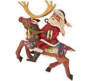 Jim Shore Heartwood Creek Santa on Reindeer Ornament - H212521