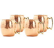 Old Dutch Set of 4 Hammered Solid Copper MoscowMule Mugs - H288121