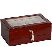 Mele & Co. Christo Glass Top Wooden Watch Box in Walnut Finish - H288621