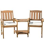 Denise Austin Home Cream & Honey Oak Adjoined2-Seater - H289421