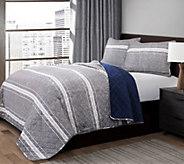 Marlton Stripe Gray 3-Piece King Quilt Set by Lush Decor - H296021
