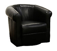 Julian Black Faux Leather Club Chair With 360 Degree Swivel - H349821