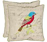 Safavieh S/2 18x18 Loki Tropical Bird AppliquePillows - H360621