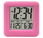 La Crosse 70902 Soft Pink Cube LCD Alarm Clock - H363821