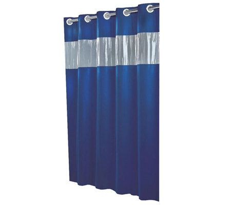 Hookless Blue Shower Curtain W Vinyl Window Page 1