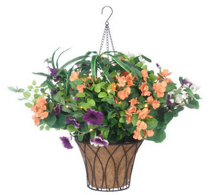 Bethlehem Lights Battery Op. Mixed Flower Hanging Basket
