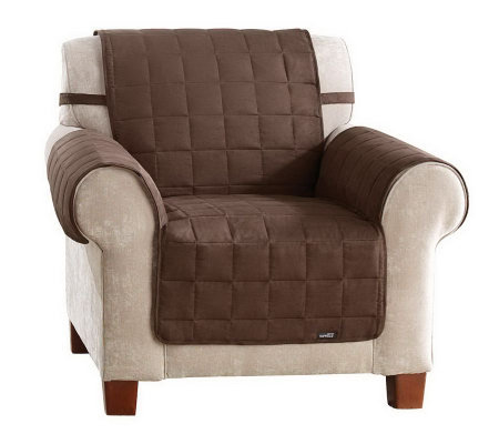 Sure Fit Suede Quilted Waterproof Chair Furniture Cover ...