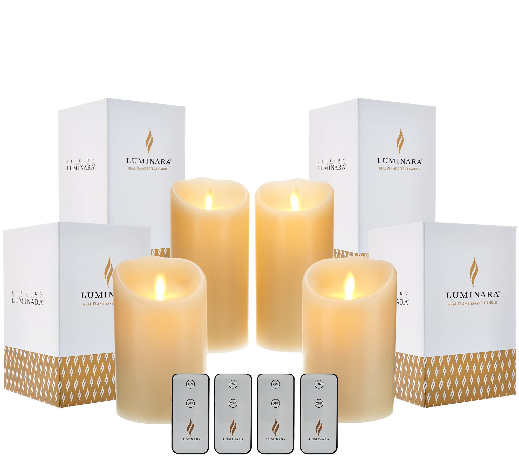 "Luminara (2) 5"" & (2) 7"" Flameless Candles w/ Boxes & Remotes"