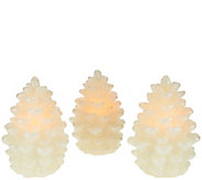 Set of 3 Illuminated Glistening Wax Pinecones by Valerie - H208922