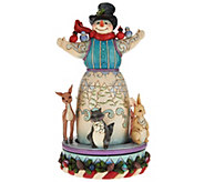 Jim Shore Heartwood Creek Snowman with Spinning Animal Scene - H209322