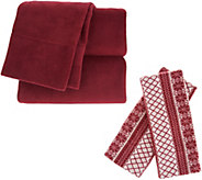 Malden Mills Polarfleece Sheet Set with Extra Fairisle Pillowcases - H213122