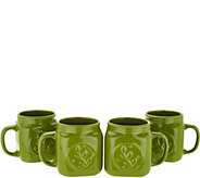 Valerie Bertinelli Set of 4 Ceramic Mason Jar Mugs - H213822