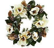 As Is 24 Iced Magnolia and Pinecone Wreath by Valerie - H214122