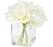 Pure Garden Cream Lily Floral Arrangement withGlass Vase - H291722