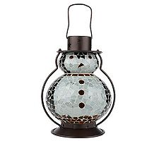 Mosaic Holiday Figural Lantern with Color Changing LEDs, Christmas Decor