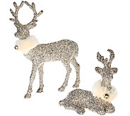 Dennis Basso Set of 2 Glittered Reindeer w/Faux Fur Collars - H205823