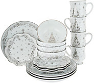 Temp-tations Metallic Christmas Eve or Winter 16pc Dinnerware Set - H208523