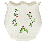 Belleek Holly and Ivy 5 Holiday Pot - H209023