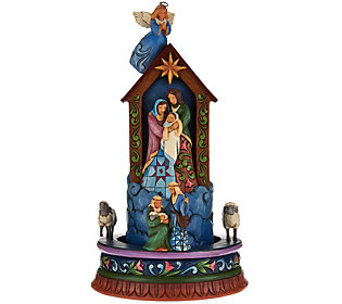 Jim Shore Heartwood Creek Christmas Angel with Spinning Nativity Scene