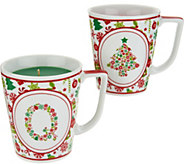 HomeWorx by Harry Slatkin S/2 Monogrammed Holiday Candle Mugs - H211423