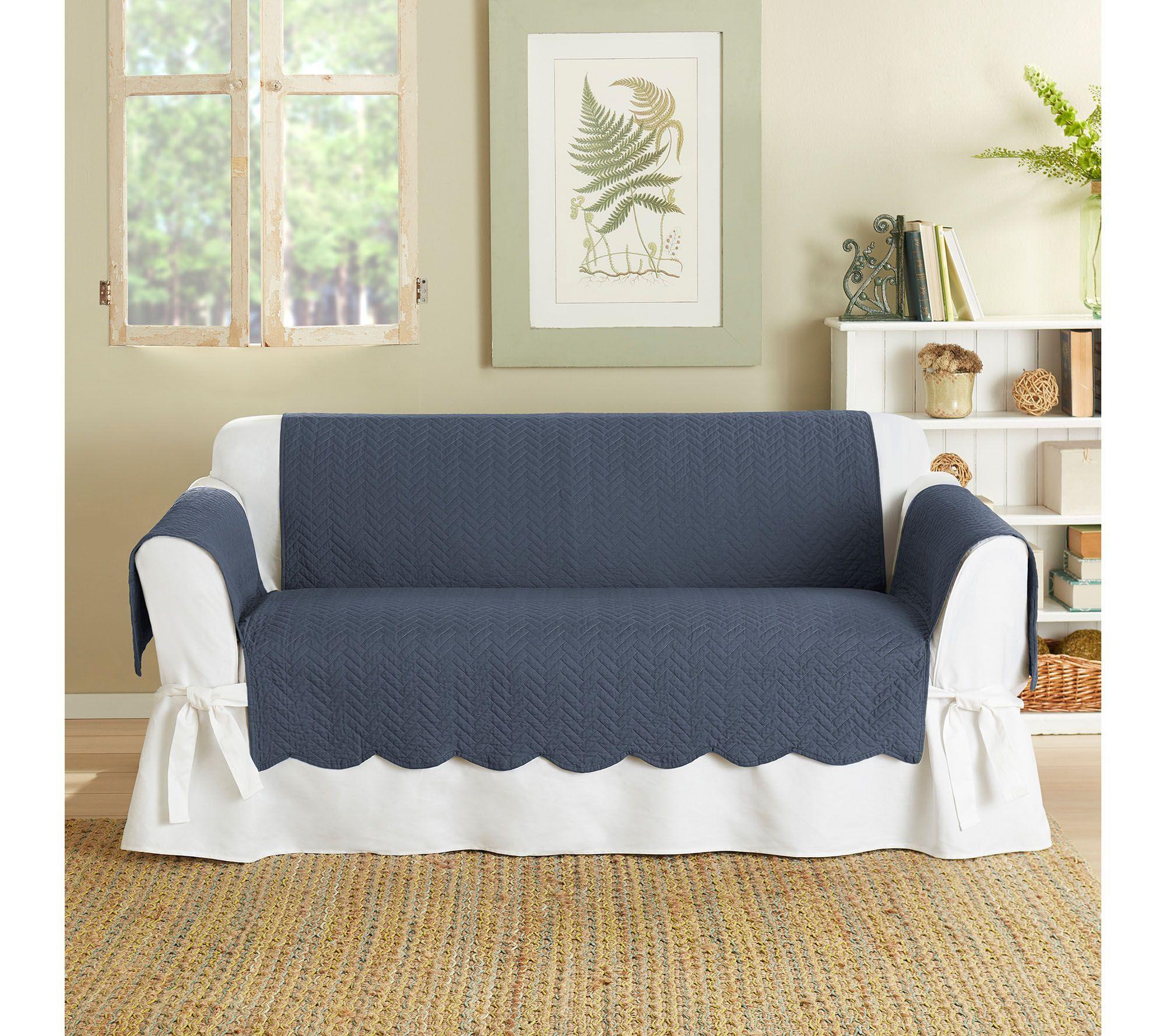sure fit 100 cotton loveseat furniture cover chevron stitch page 1 u2014 qvccom