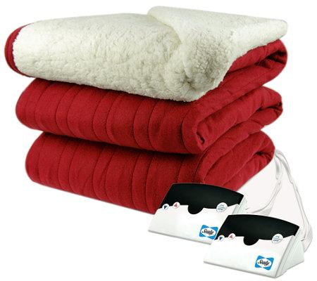 biddeford knit king size heated blanket with sherpa back. Black Bedroom Furniture Sets. Home Design Ideas