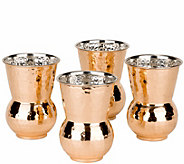 Old Dutch Set of 4 Hammered Solid Copper Hourglass Tumblers - H288123