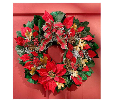 Faux Poinsettia Wreath by 1-800-Flowers