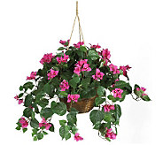 Pink Bougainvillea Silk Hanging Basket by Nearly Natural - H162324