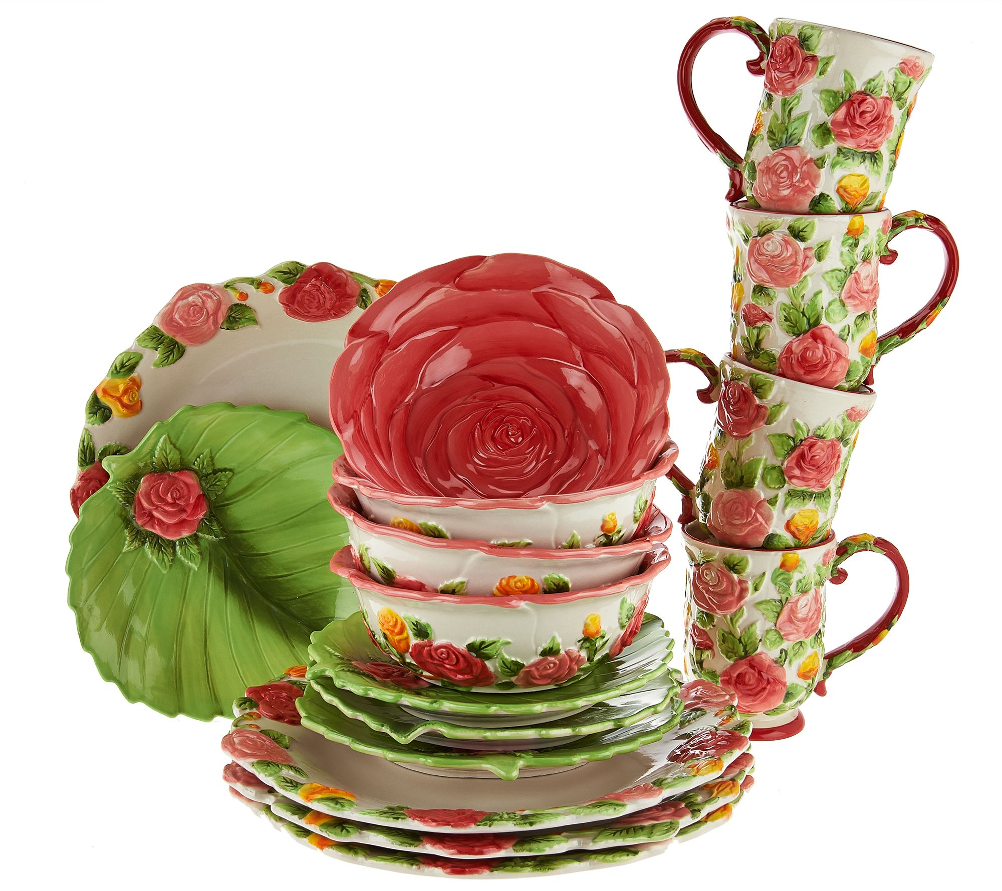 Exceptional Temp Tations 16 Piece Figural Floral Dinnerware Service For 4   Page 1 U2014  QVC.com