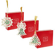 Lenox S/3 Holiday Porcelain Ornaments with Gift Boxes - H205524