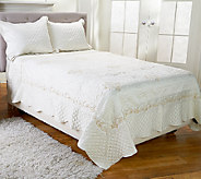 Dennis Basso 3pc Embroidered Matte Satin FL/QN Coverlet & Sham Set - H205824