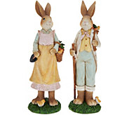 Set of 2 Antiqued Crackle Finish Bunnies by Valerie - H210724