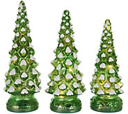 As Is Set of 3 Lit Twinkling Mercury Glass Trees by Valerie - H211124
