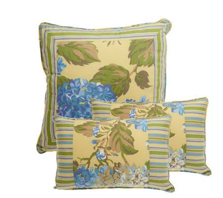 Qvc Decorative Pillows : 3-piece Hydrangea Decorative Pillow Set by Valerie - Page 1 ? QVC.com