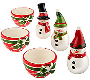 6-piece Ceramic Dip Bowl & Snowman Spreader Knife Set by Valerie - H197625
