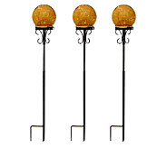 S/3 Lit Mercury Glass Spheres with Outdoor Stakes by Valerie - H202225
