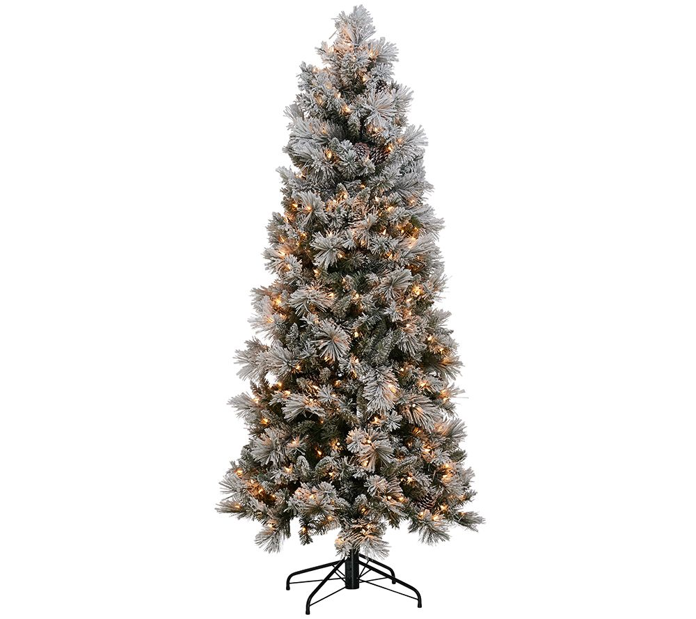 Kringle Express Flocked 6 5 Winter Slim Christmas Tree