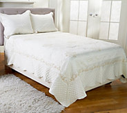 Dennis Basso 3pc Embroidered Matte Satin King Coverlet & Sham Set - H205825
