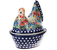 Lidias Polish Pottery Stoneware Chicken Container - H206125