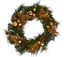 "20"" Illuminated Mixed Greens Wreath with Metallic Embellishments - H206425"
