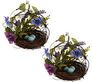 Set of 2 Mixed Floral Dogwood and Hydrangea Nests with Eggs by Valerie - H211025