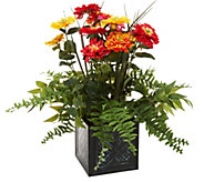 24 Zinnia Blossoms in Metal Planter by Valerie - H213525